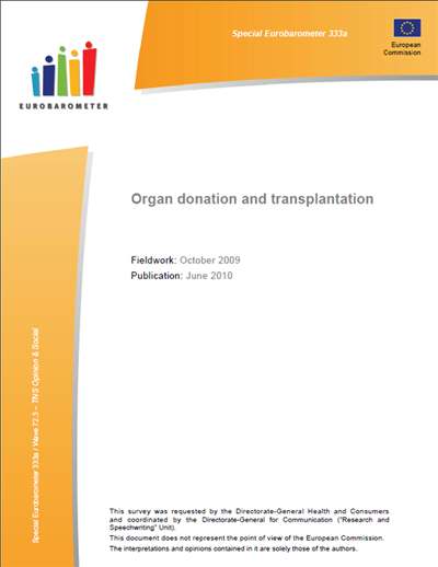 Organ donation and transplantation - EUROBAROMETER 2010